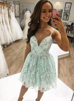 Stylish A Line Spaghetti Straps Light Blue Short Homecoming Dress Appliques   cg11982