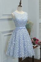 A-Line Boat Neck Knee-Length Blue Lace Homecoming Dress with Appliques    cg12011