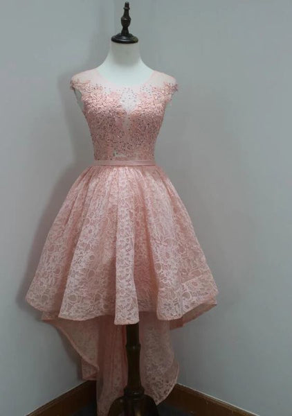 Stylish Round Neck High Low Lace Pink Homecoming Dress    cg12012