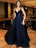 A-Line V-Neck Dark Blue Sleeveless Satin Floor-Length Sweep Train Prom Dresses  cg1202