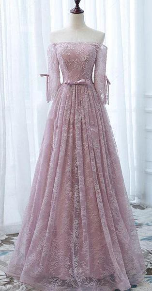 Pink Prom Dresses,Lace Orin Gown,Long Prom Dress,Off The Shoulder Prom Dresses   cg12049