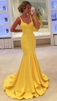 Straps Sleeves Yellow Prom Dress with Tiered Mermaid Party Dress cg1204
