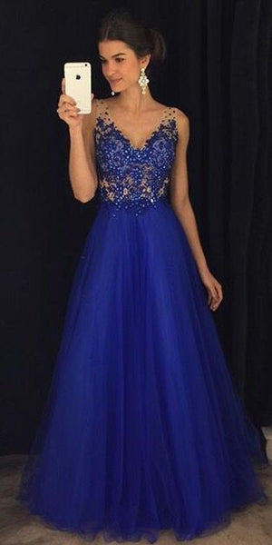 Gorgeous A Line V Neck Open Back Royal Blue Lace Long Prom Dresses with Beading, Elegant Evening Party Dresses cg1205