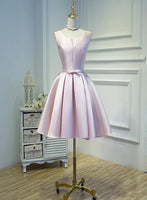 Pink Short Satin Knee Length Homecoming Dress   cg12068