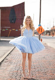 BLUE V NECK TULLE SHORT DRESS HOMECOMING DRESS    cg12076