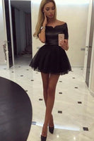 Sexy Short Sleeves Off-the-shoulder Short Black Homecoming Dress  cg1209