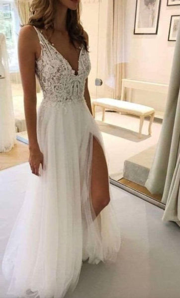 Beach wedding dress with straps Boho lace prom dress with a slit on the sides  cg12107