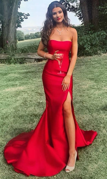 2019 long prom dresses, strapless mermaid red prom dresses with slit, long prom dresses with slit cg1220