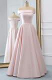 Pink Satin Long Evening Dress With Pockets, Pink Prom Gowns cg1225