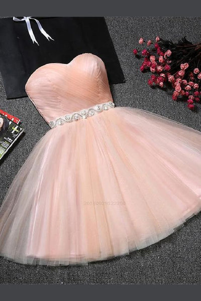 Blush Homecoming Dress Strapless Sweetheart Neck Homecoming Dress Blush Pink Tulle ,cute homecoming dress cg122