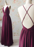Simple v neck chiffon long prom dress, evening dress cg1235
