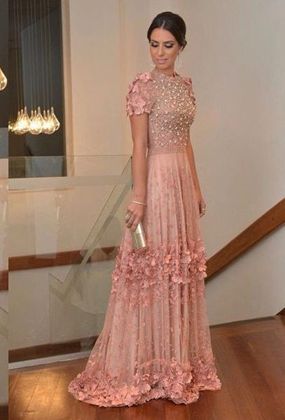 pink gown with floral prom dress cg1239