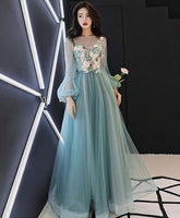 Blue round neck tulle blue long prom gown, blue evening dress cg1247