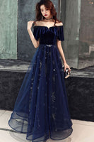 Dark blue tulle lace long prom dress, blue evening dress cg1255
