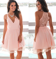 v neck short pink homecoming dresses with lace back cg1257
