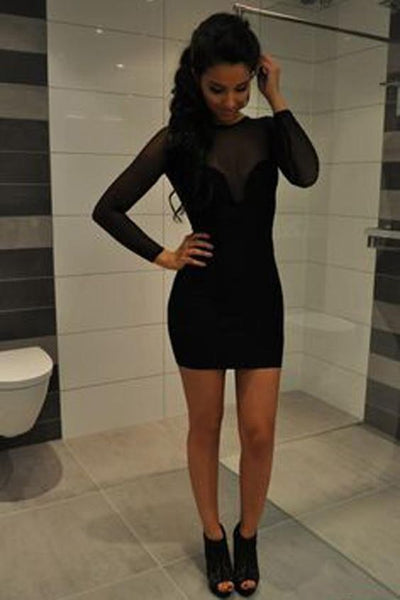 Black Round Neck Short Dress,Long Sleeve Sheer Back Cheap Homecoming Dress,Party Dress  cg1259