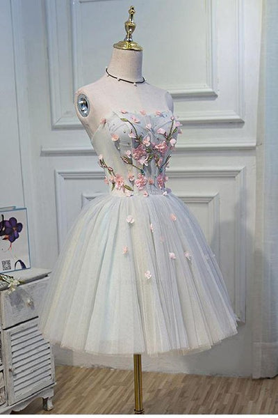 Short Grey Homecoming Dresses With Flower Lace Up Mini Fancy Homecoming dress cg125