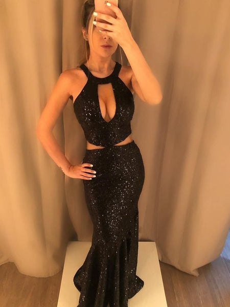 Sparkly Black Sequined Mermaid Prom Dress   cg12664