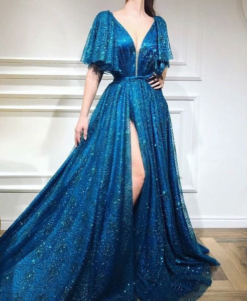 A-line Floor-length Sequined Prom Dress, Unique Sweetheart Long Prom Dresses  cg1272
