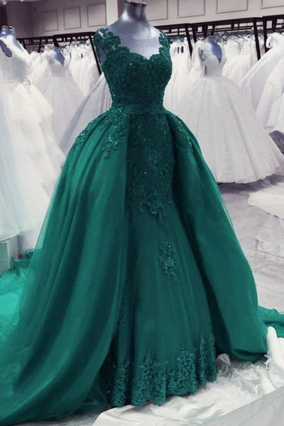 green lace mermaid prom dresses   cg12747
