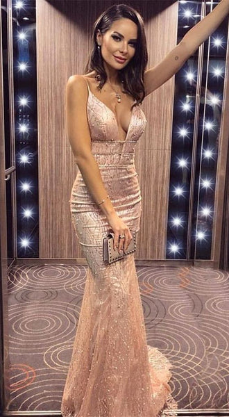 Spaghetti Straps Sparkly Beaded Prom Dresses, Long Prom Dress, Mermaid prom dress   cg12762