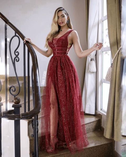 Burgundy Prom Dresses, Long Prom Dress, fashion prom dress   cg12763