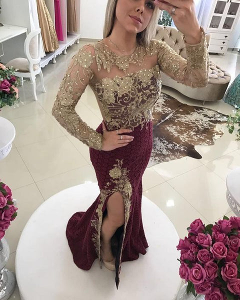 Long Sleeve Prom Dress,Mermaid Prom Dress With Split   cg12774