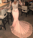 Long Sleeve Pink Mermaid Prom Dress Lace Appliques Beaded High Neck Formal Evening Dresses Party Gowns   cg12793