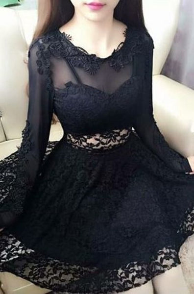 Sexy Black Lace Jewel Neck Long Sleeves Lace A-Line Short Homecoming Dress  cg1282