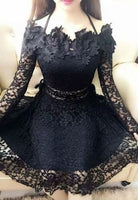 Sexy Black Lace Halter Long Sleeves Short Homecoming Dress  cg1283
