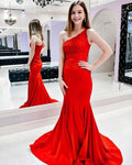 Off the Shoulder Lace Bodice Mermaid Prom Dress    cg12868