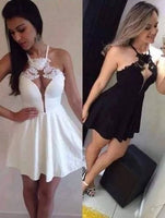 Halter Short homecoming Dress, White/Black Satin homecoming Gown cg1286