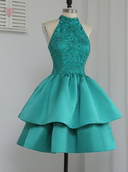 Luxurious evening dress,sexy ball gowns, custom made ,new fashion, A-Line party gowns,Halter Green Homecoming Dresses cg1288