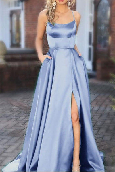 blue bridesmaid dresses,long satin formal prom gowns cg1289