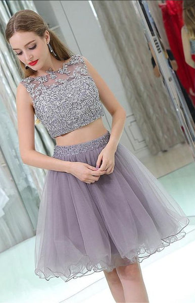 Homecoming Dress,Homecoming Dresses,Gray Lace Homecoming Dresses,Two Pieces Homecoming cg1291