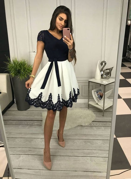 Cute v neck black lace and white short homecoming dress, homecoming dress  cg1294