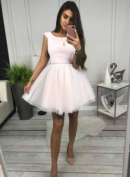 Pink round neck tulle short dress, homecoming dress  cg1295