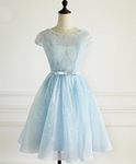 Light Blue Lace Cap Sleeves Cute Short Party Dress, Blue Homecoming Dress    cg12963