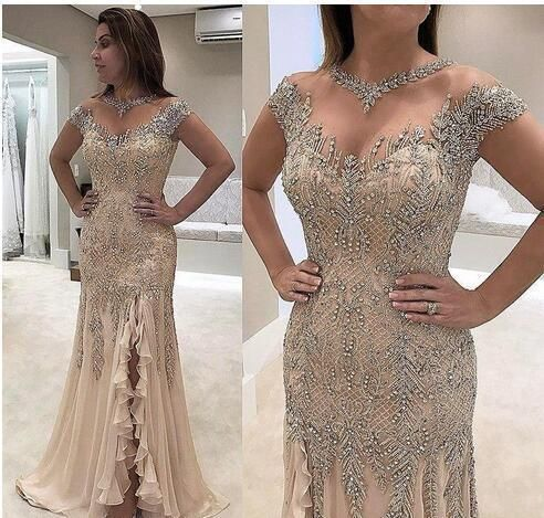 Gorgeous Beaded Side Slit Mermaid Prom Dress with Cap Sleeve, Long Evening Dress   cg12969
