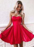 Red sweetheart neck satin short dress, homecoming dress cg1296