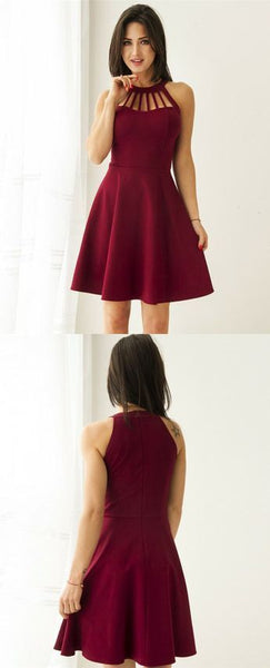 Burgundy Short Elegant Party Gowns, Simple Fall Homecoming Dress   cg12999