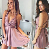 A-Line Deep V-Neck Short Blush Elastic Satin Convertible Style Homecoming Dress  cg129