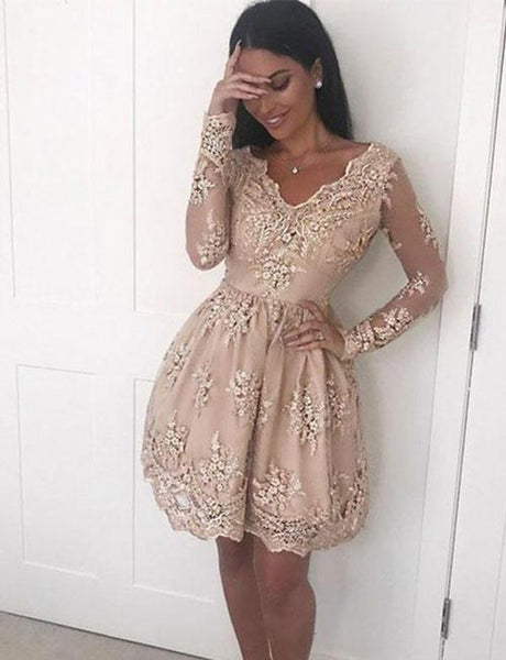 V Neck Champagne Short Homecoming Dress With Lace Appliques ,cute homecoming dress cg12
