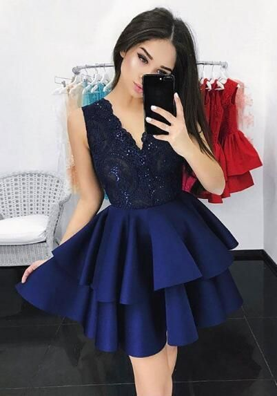 Dark Blue Homecoming Dress,Lace Homecoming Dress    cg13037