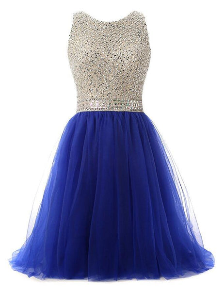 Royal Blue Beaded Top Homecoming Dress, Back To School Dresses ,Short homecoming Dress For Teens cg1303