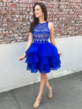 Cute Organza Skirt Royal Blue A-line Lace Top Short Homecoming Dresses cg1305