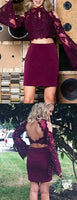 Maroon Two Piece Lace Beading Sheath Long Sleeve Homecoming Dresses cg1308