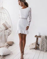 Sheath Knee-Length White Lace Homecoming Dress ,Short homecoming Dresses cg130