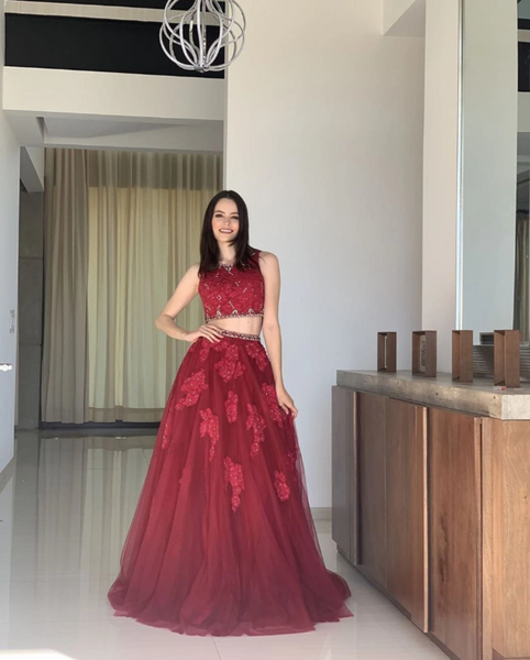 Two Pieces Burgundy prom dress, Long Prom Dress, Prom dress   cg13142
