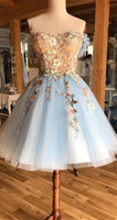 A-Line Off-the-Shoulder Above-Knee Light Blue Homecoming Dress with Appliques cg1314